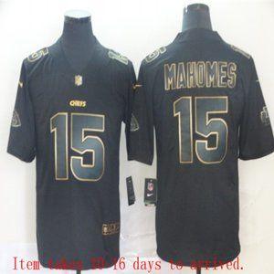 Chiefs #15 Patrick Mahomes Black Golden Jersey
